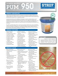 Graphic: Sell Sheet for Wood Flooring Adhesive PUM-950